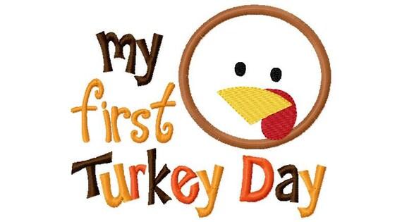 My first  Turkey Day Boy  Thanksgiving Applique Design Machine Embroidery Design 4x4 and 5x7