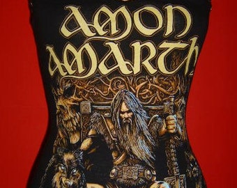 AMON AMARTH diy halter top viking death metal reconstructed altered Odin's Son shirt  xs s m l xl