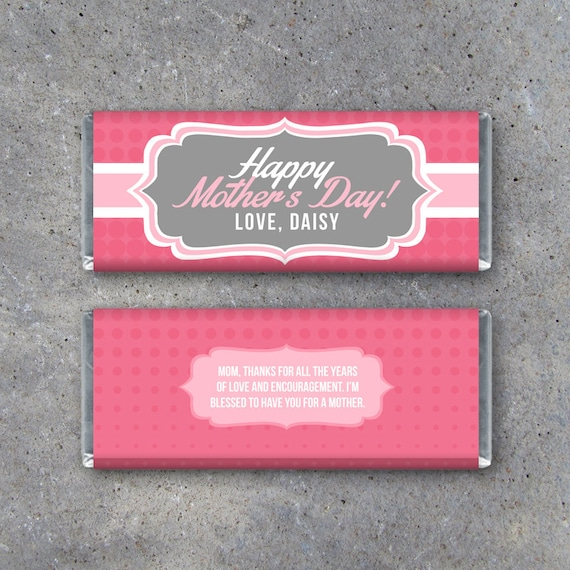 Happy mother39s day personalized candy bar wrappers for Personalized chocolate wrappers template