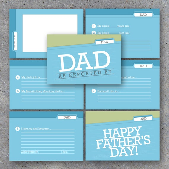 DAD As Reported By – 4x6 Keepsake Scrapbook Mini Album – Printable Interview Cards – DIY Gift for Dad – Father's Day Gift Instant Download