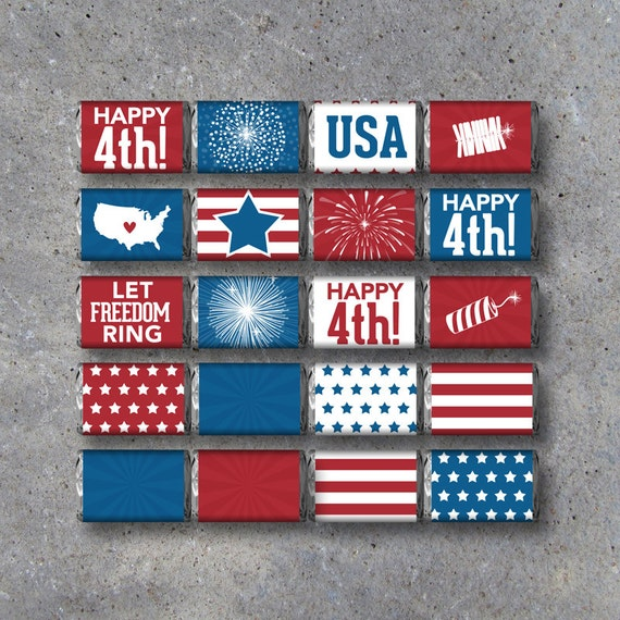 4th Of July Mini Candy Bar Wrappers Instant Download