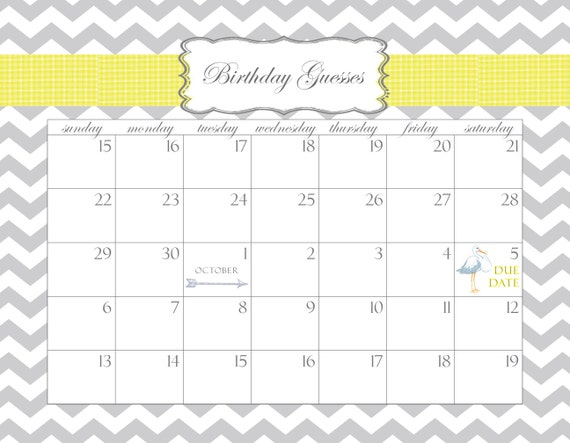 Baby Shower Calendar Printable PDF Birthday Guesses by stzdesigns