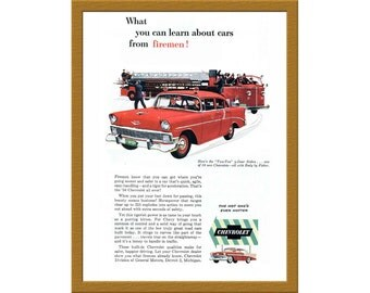 "1957 Chevrolet Automobile Color Print AD / Here's the Two-Ten 4-Door Sedan / 6"" x 9"" / Original Print Ad / Buy 2 ads Get 1 FREE"