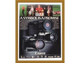 "1981 Canon 35mm Film SLR Cameras Color Print AD / A symbol is a promise / 9"" x 12"" / Original Advertising / Buy 2 ads Get 1 FREE"