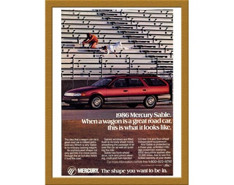 "1986 Ford Mercury Car Color Print AD / The Shape you want to be in / 6"" x 9"" / Original Print Ad / Buy 2 ads Get 1 FREE"