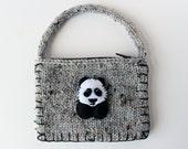Panda Coin Purse, Girls Handbag, Business Card Pouch, Utility Purse, Cute Girls Purse, Kawaii Panda, Gray Money Purse, Knit Pouch