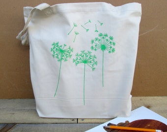 Dandelion Tote Bag, 100% Organic Cotton Tote, Book Tote Bag, Screen Printed Tote Bag, Dandelion, Book Tote, Grocery Bag, Organic Cotton