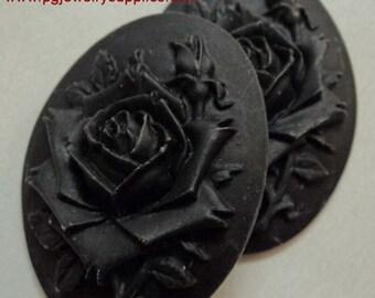 40x30 rose and bud  black on black resin cameos 2 pcs