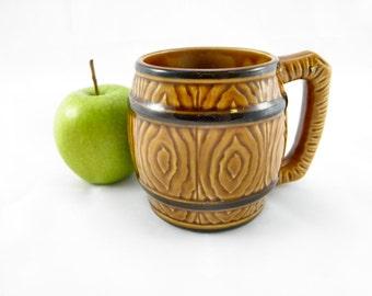 Vintage 1960's Ceramic Barrel Mug / Tankard / Stein
