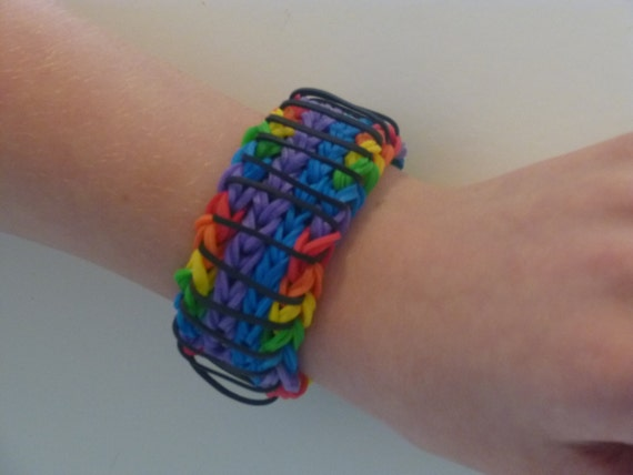 Items similar to Sailors Pinstripe Rainbow Loom Bracelet ...