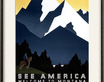 Montana art National park print travel print travel poster Wall poster art mountains print retro art travel wall art travel decor old prints