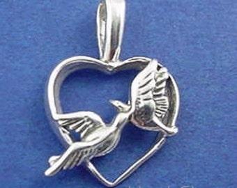 LOVE BIRDS HEART Charm .925 Sterling Silver Pendant