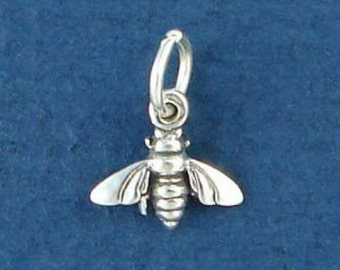HONEY BEE Charm, Honeybee, Insect MINIATURE Small .925 Sterling Silver Charm