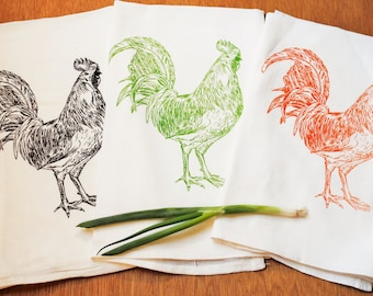Rooster Tea Towels Set of 3 - Bridesmaid Gifts - Mother of the Bride Gift - Bridal Gift - Bridal Party Gifts -Bridal Registry -Gift Registry
