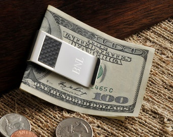 Personalized Carbon Fiber Money Clip - Engraved Money Clip - Gifts for Dad - Groomsmen Gifts - Personalized Gifts for Him (851)