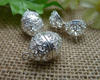 2 Silver Lovely High Quality Brass Filigree Wish Box Magic Box Charm Pendant ( open double sided and 3D )  - No.C7564