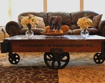 READY TO SHIP   Vintage Restored Lineberry Factory Cart (Daisy Wheel)   Coffee  Table