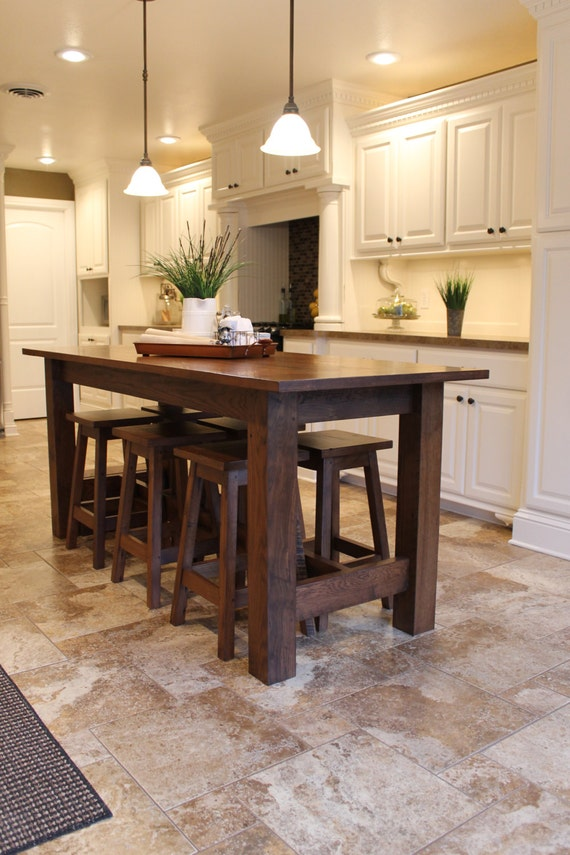 kitchen island table with stools rustic farmhouse bar island table with 6 barstools 24792