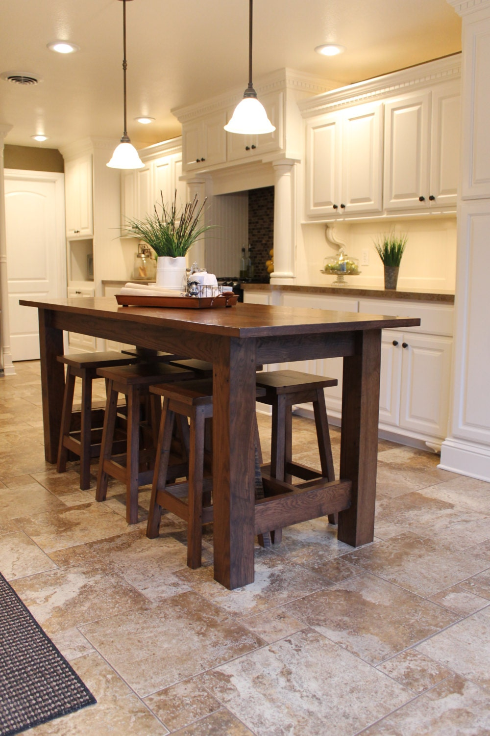 Rustic farmhouse bar island table with 6 barstools for Kitchen table ideas