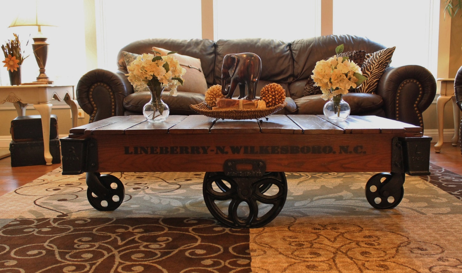 Vintage Restored Lineberry Factory Cart Daisy Wheel Coffee Table Haute Juice