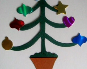 36 Piece Christmas Tree die cuts with decorations for cards toppers cardmaking scrapbooking craft projects