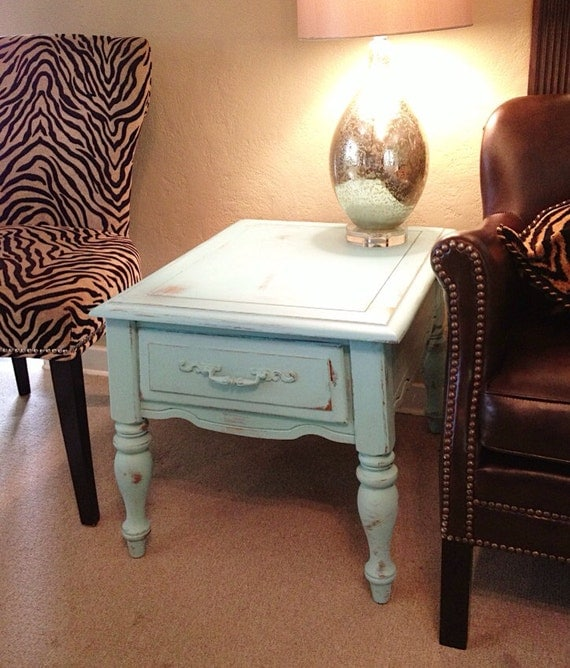 Diy Shabby Chic Coffee Table: SHABBY CHIC End Table Duck Egg Blue Chalk Paint Distressed