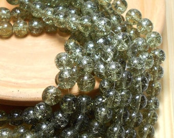 25 8mm Black Diamond Crackle Czech Beads, Black Diamond Beads, Smoky Quartz Beads, Crackle Beads, 8mm Round Beads, 8mm Glass Beads D-D15