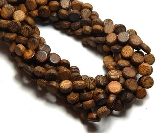 8x5mm Flat Robles Wood Beads, Flat Round Wood Beads, Brown Beads, Robles Beads, Disk Beads, Wooden Beads, Natural Wood Beads  D-R01B