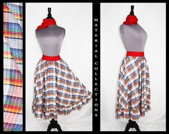 Vintage 50s Style Plaid Circle Skirt by Material Collections