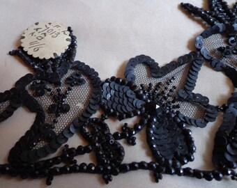 Vintage  applique beaded black unused 1900's
