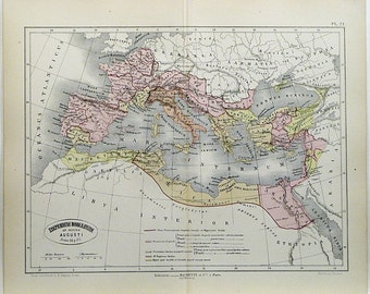 Map of The Roman Empire circa 1865 Hand Colored Engraving Vintage French Antique Map Wonderful for Display 148+ Years Old