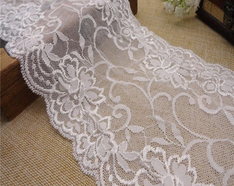"ivory white wedding lace,Stretch Lace Trim - Extra Wide Lace Trim, 6"" Wide Lace Trim- white"