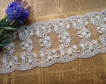12cm White Lace Trim, scalloped edges lace trim , both sides lace fabric
