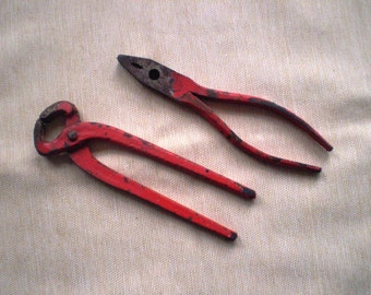 Red Pliers - Set of Two with Original Red Paint