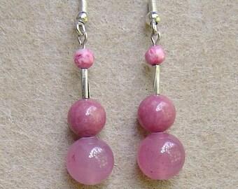 Sterling Silver & Pink Jade Drop Earrings