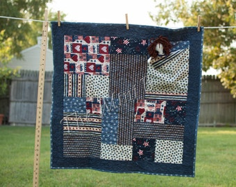Patriotic Patchwork Pocket Doll Quilt with Handmade Primitive Doll - Super Cute ready to ship