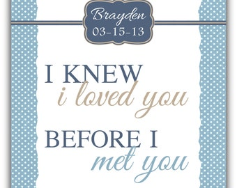 I knew I LOVED you before I met you print - boy wall art - baby wall art decor nursery print baby boy print baby girl print playroom print