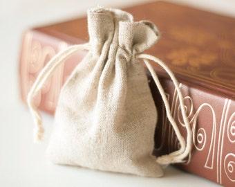 Mini Linen Favour Bags, Set of 12