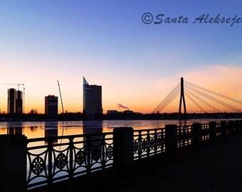 Bridge at sunset in Riga, Latvia  - Fine Art Photography Print - City Print, sunset photography, city photography, bridge photo, City Art