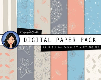 Dandelion Digital Paper -  Dandelion Wallpaper - Dandelions Scrapbook Paper - Dandelion Patterned Paper for Scrapbooking, Invites, Cards