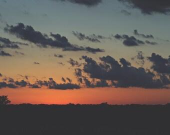 Smokey Sunset Color Photo Print { sunset, clouds, trees, blue, orange, silhouette, sky, wall art, macro, nature & fine art photography }