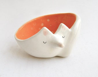 Ceramic Fox Bowl with Orange Engobe and Sgraffito of Polka Dots Inside. Made To Order