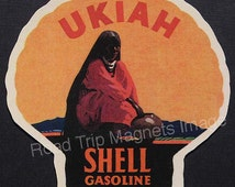 Shell Gasoline 1920s Travel Decal Magnet for UKIAH (CA). Accurately Reproduced & hand cut in shape as designed. Nice Travel Decal Art