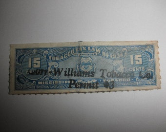 Tobacco Tax Stamp Blue Color from the 1934 Tax Law Mississippi