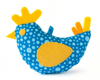 Spring textile blue chicken, soft bird, Easter decor, spring decoration.