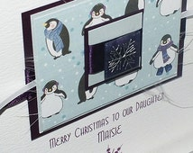 Luxury Christmas Card personalised for Son, Daughter, Son, Niece, Nephew, Grandson, Grandaughter etc- 'Playful Penguins' with envelope