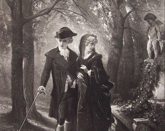 Antique Photogravure 1881, Francois-Claudius Compte-Calix, Poor Love, Victorian Couple. Romantic, Signed, engraved  by Goupil, Home Decor