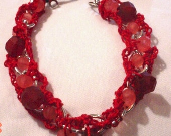 Crochet Bracelet Chain Bracelet Red Bracelet Beaded Bracelet