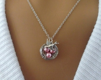 Light Pink Pearl Bird's Nest Necklace
