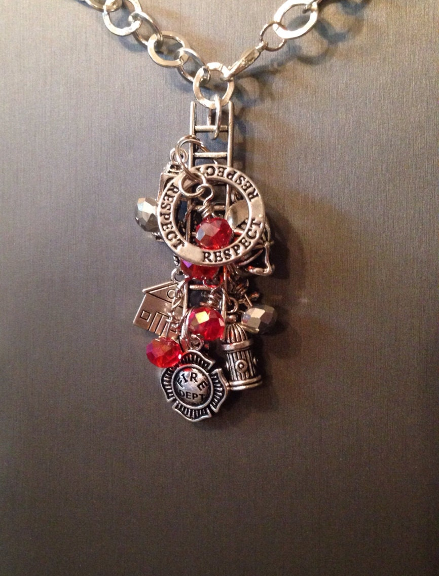 firefighter charm necklace